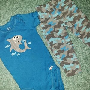 12m Shark. Baby Outfit Blue Camo/Army